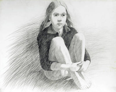 Lincoln Memorial Drawing - Sitting Rebecca  by John Grazier