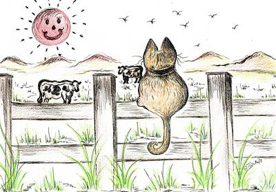 Drawing - Sitting Watching Cows In The Meadow by Teresa White
