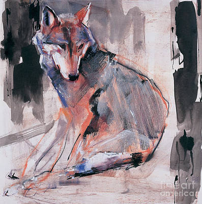 Wolf Wall Art - Mixed Media - Sitting Wolf by Mark Adlington