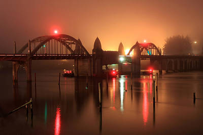 Photograph - Siuslaw River Bridge At Night by James Eddy