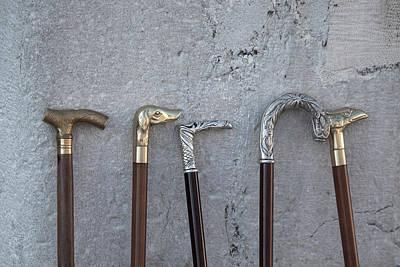 Siver And Bronze Walking Sticks Art Print
