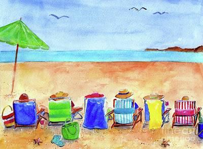 Painting - Six Beach Amigos by Sheryl Heatherly Hawkins