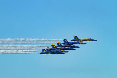 Photograph - Six Blue Angels by Bonnie Follett