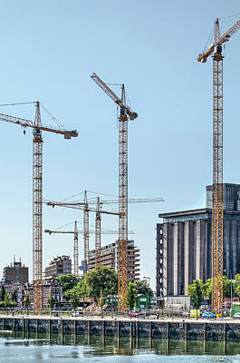 Photograph - Six Construction Cranes by Frans Blok