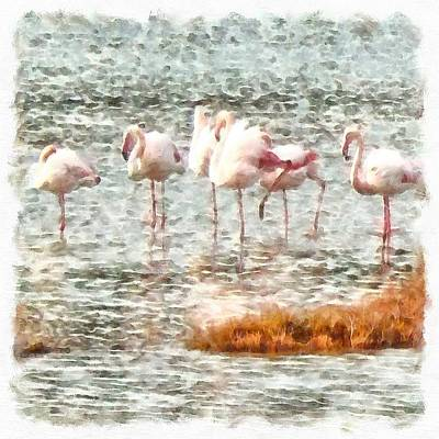 Painting - Six Flamingos A Wading Watercolor by Tracey Harrington-Simpson