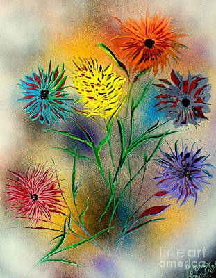 Painting - Six Flowers - E by Greg Moores