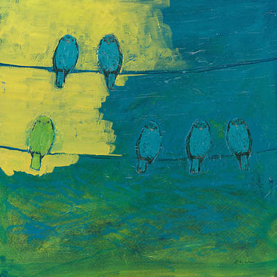 Bird Wall Art - Painting - Six In Waiting Break Of Day by Jennifer Lommers