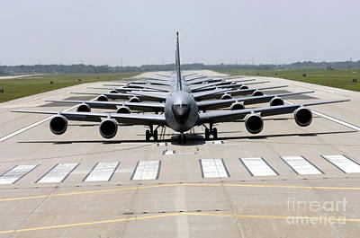Six Kc-135 Stratotankers Demonstrate Print by Stocktrek Images