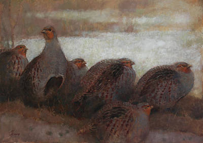 Painting - Six Partridges by Attila Meszlenyi