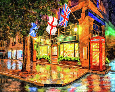 Art Print featuring the mixed media Six Pence Pub - Savannah In The Rain by Mark Tisdale