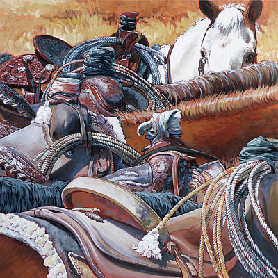 Painting - Six Roping Horses by Nadi Spencer