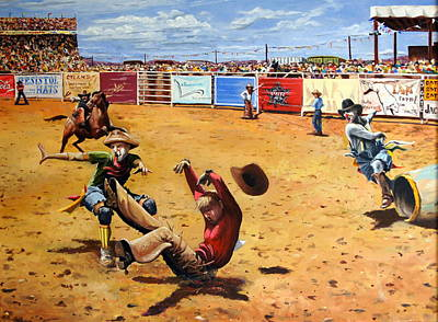 Rodeo Clown Painting - Six Seconds by Kerry Burch