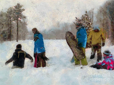 Six Sledders In The Snow Art Print