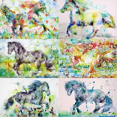 Painting - Six Stallions by Fabrizio Cassetta