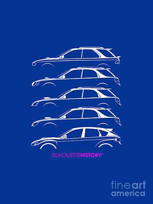 Subaru Impreza Digital Art - Six Stars Hatch Silhouettehistory by Gabor Vida