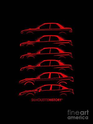 Subaru Impreza Digital Art - Six Stars No-wing Silhouettehistory by Gabor Vida