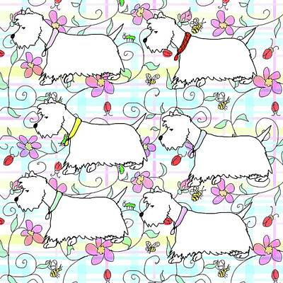Digital Art - Six Westies In A Spring Plaid by Debra Baldwin