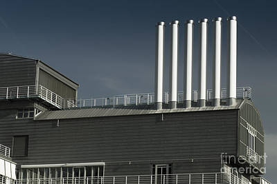 Transportation Photograph - Six White Industrial Chimneys by Dani Prints and Images