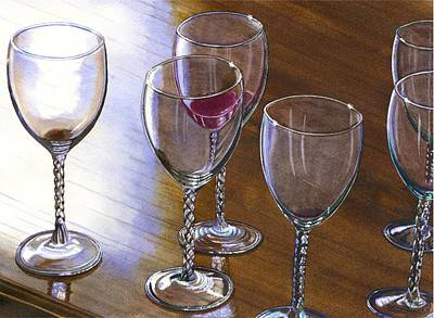 Wine Glass Painting - Six Wine Glasses by Catherine G McElroy