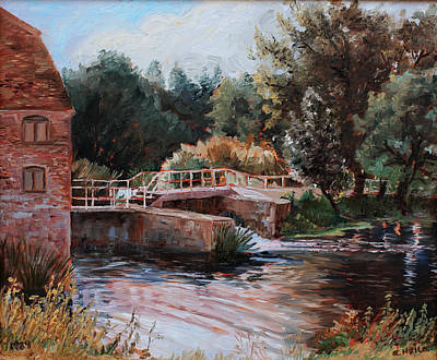 Water Mills Painting - Sixtenth Century Watermill In Sturminster Newton Dorset England by Ethel Vrana