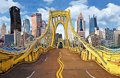 Roberto Painting - Sixth Street Bridge, Pittsburgh by Frank Harris