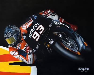 Motogp Painting - Sixtyfour Degrees by Fernando Lopez Lago