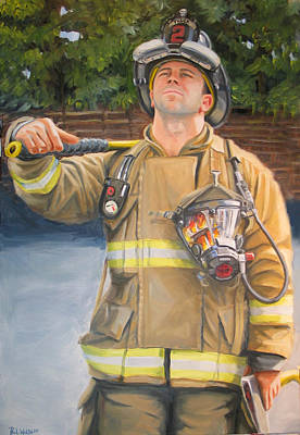 Fireman Painting - Sizing Up by Paul Walsh