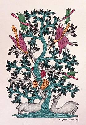 Gond Art Painting - Sk 04 by Shakuntala Kushram