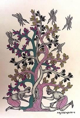 Gond Art Painting - Sk 06 by Shakuntala Kushram