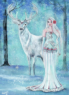 Winter Scene For Sale Painting - Skadi Nordic Goddess by Renee Lavoie