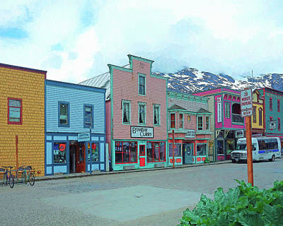 Storefront Digital Art - Skagway Alaska Colorful Street Scene by Rebecca Korpita
