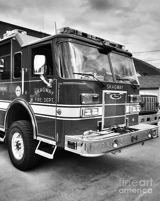 Photograph - Skagway Fire Truck Bw by Mel Steinhauer