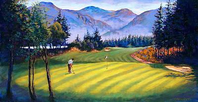 Lynee Sapere Wall Art - Painting - Skamania Golfer by Lynee Sapere