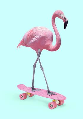 Skateboard Digital Art - Skate Flamingo by Paul Fuentes