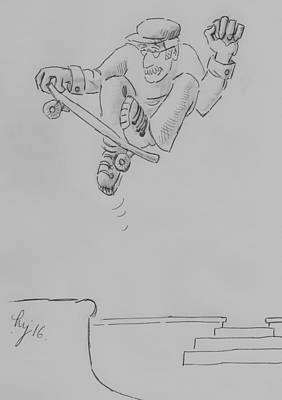Drawing - Skate Geezer Old Guy Skateboard Cartoon by Mike Jory