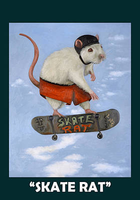 Addict Painting - Skate Rat With Lettering by Leah Saulnier The Painting Maniac