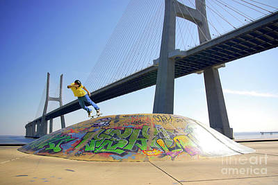 Attitude Photograph - Skate Under Bridge by Carlos Caetano