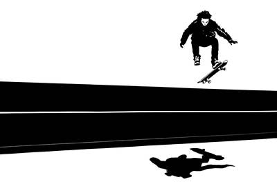 Shadows Drawing - Skateboard by Giuseppe Cristiano