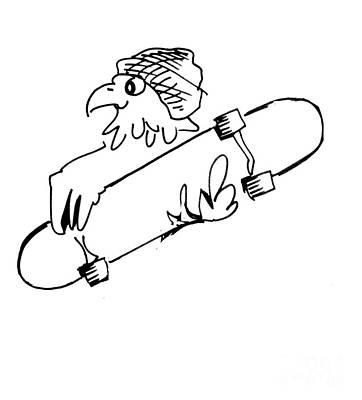 Skateboard Hawk  Art Print
