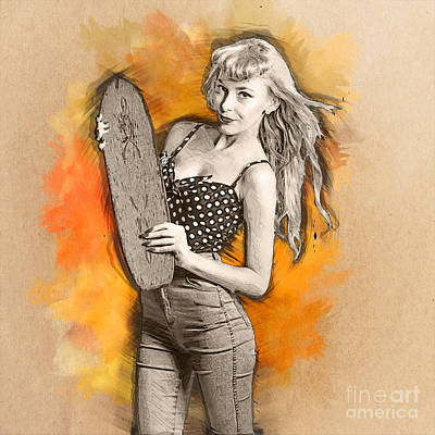 Concept Design Drawing - Skateboard Pin-up Illustration by Jorgo Photography - Wall Art Gallery