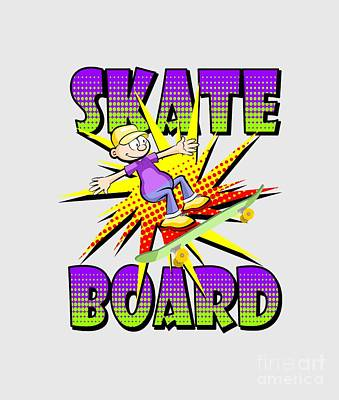 Skate Digital Art - Skateboard Text In Violet Colour With Boy Skating by Daniel Ghioldi
