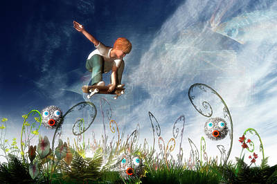 Critter Digital Art - Skateboarder And Friends by Carol and Mike Werner