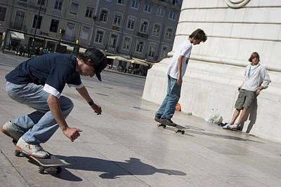 Skateboarder In Lisbon Art Print by Carl Purcell