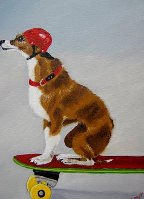 Painting - Skateboarding Chihuahua by Debra Campbell
