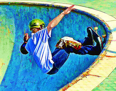 Extreme Sports Painting - Skateboarding In The Bowl by Elaine Plesser