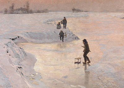 Skating Painting - Skaters, 1891 by Emile Claus