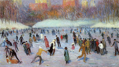 Photograph - Skaters, Central Park by William Glackens