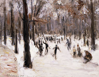 Winter In The Country Painting - Skaters In The Tiergarten, Berlin by Max Liebermann