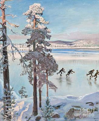 Painting - Skaters Near The Shore Of Kalela by Celestial Images