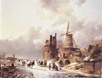 Skaters On A Frozen River Art Print by Reynold Jay